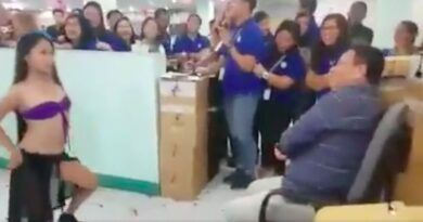 PHILHEALTH EXEC SEEN ON VIDEO GETTING OFFICE LAP DANCE FOR HIS BIRTHDAY