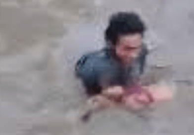 VIRAL: Child drifting in rushing water, rescued